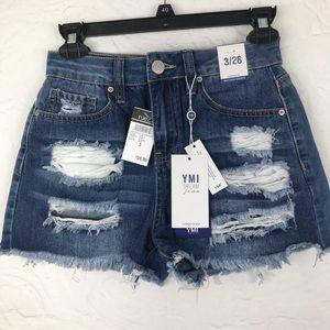 NWT Rue 21 YMI distressed denim hi-waisted shorts